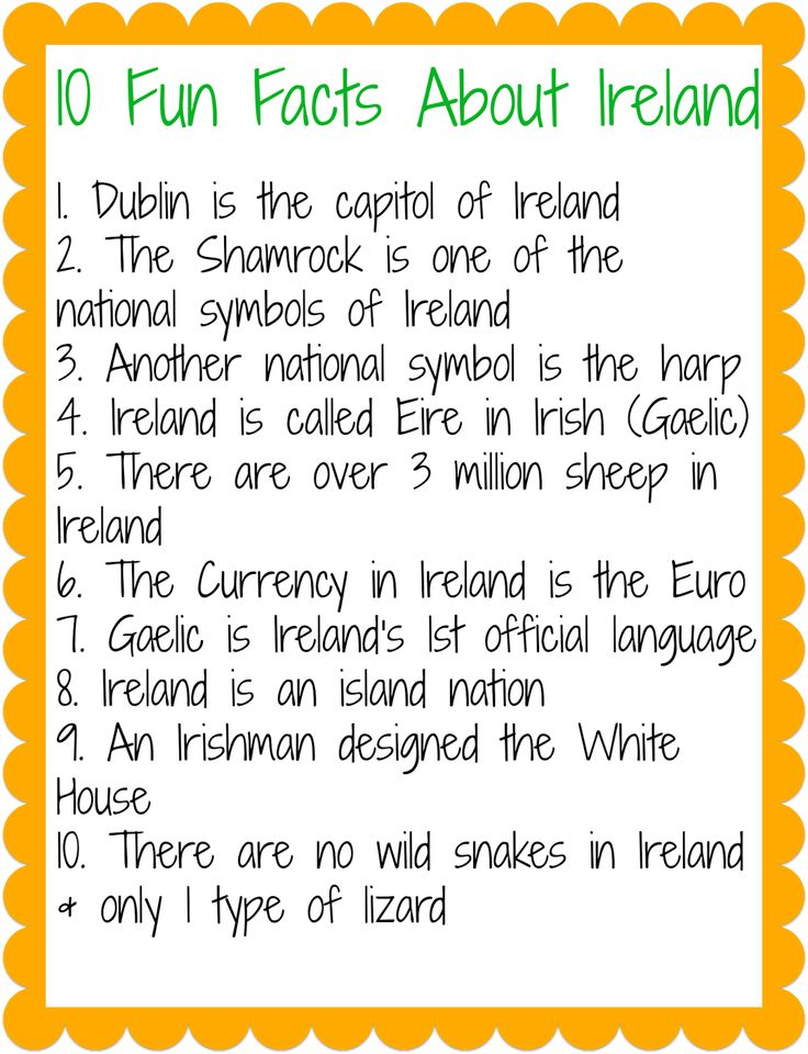 Facts about Ireland for St. Patrick's Day.  || The Chirping Moms: