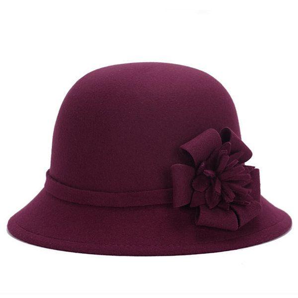 Women Vintage Imitation Wool Flower Felt Hat Winter Cloche Bucket Cap