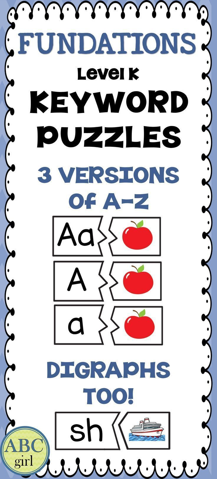 Fundations® Level K Keyword Puzzles include all of the keywords for the KIndergarten  Fundations program. Print, cut, laminate and play!