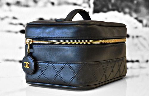 Black Chanel makeup bag.