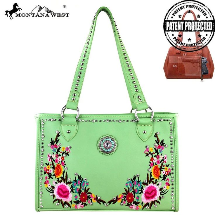 MW295G-9220 Montana West Embroidered Concealed Carry Handbag