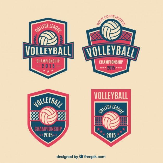 Insignias Voleibol paquete Vector Gratis