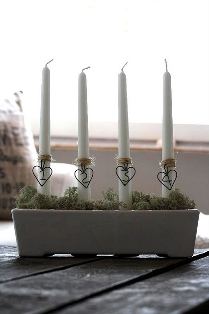 ...advent candles :) but I did wire numbers only, not the hearts & thicker style candles & on a silver tray ...