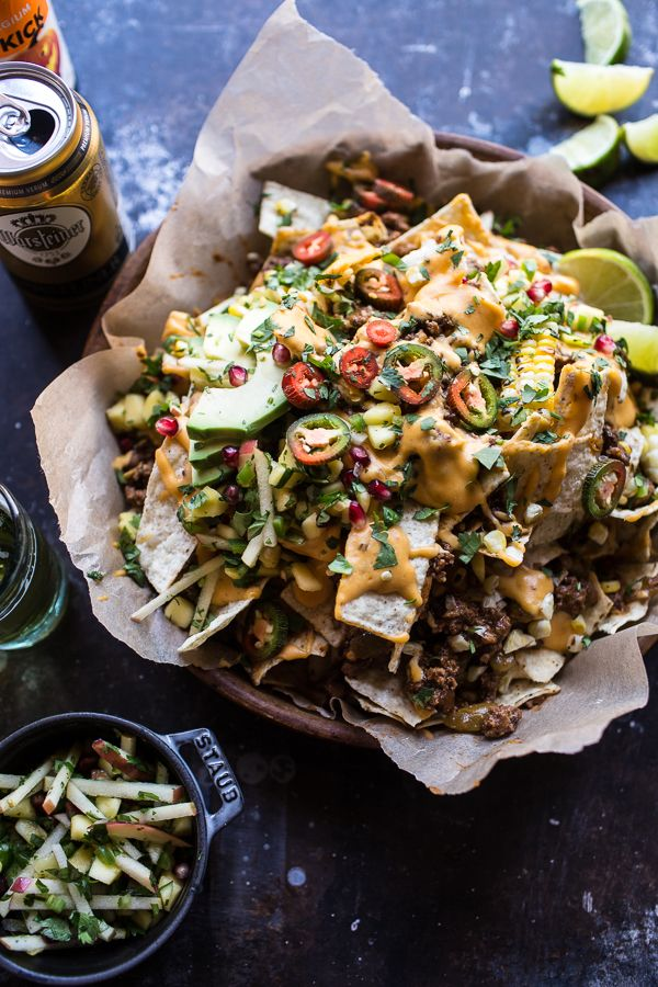 Enchilada Beef Nachos with a killer chipotle cheese sauce / half baked harvest