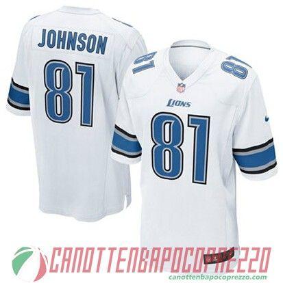 Maglie nfl poco prezzo Detroit Lions JOHNSON # 81 bianco