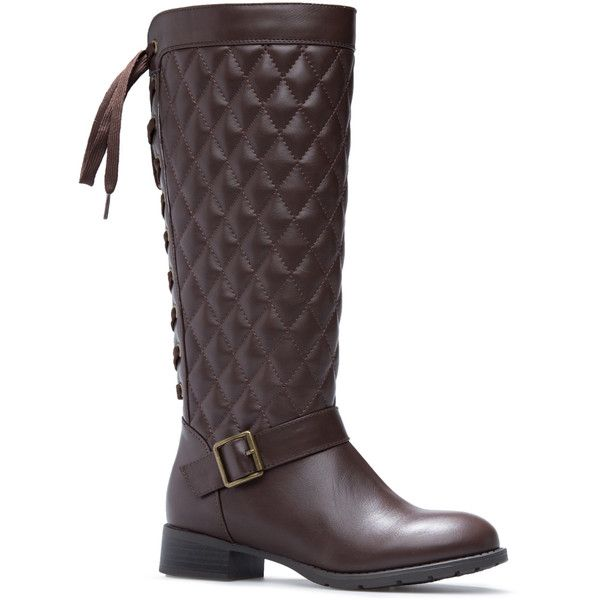 ShoeDazzle Boots Stormie Womens Brown ❤ liked on Polyvore featuring shoes, boots, brown, tie shoes, brown shoes, buckle boots, brown boots and buckle shoes