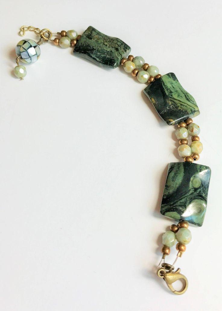 Boho Chic Natural Stone Bracelet Kombaba Jasper Soft Green Czech Glass Beads Wavy Rectangle Stone Beads Mosaic Shell Bead Dangle for Her by BCJewelryDesignsCo on Etsy