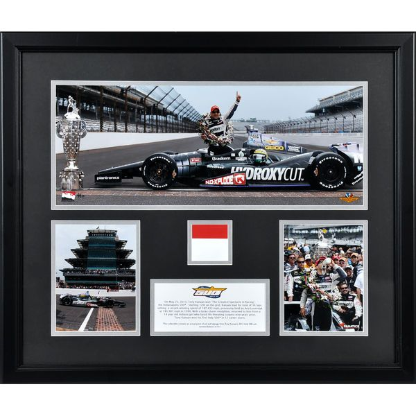 Tony Kanaan Fanatics Authentic Framed 2013 INDY 500 Race Winner 3-Photograph Collage with Piece of Pit Wall Signage-L.E. of 511 - $106.99
