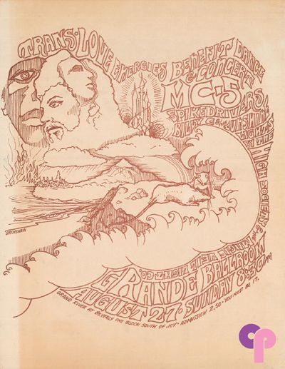 Grande Ballroom 8/27/67 Artist:  Gary Grimshaw     Performers:  MC5  Spikedrivers  Billy C and the Sunshine