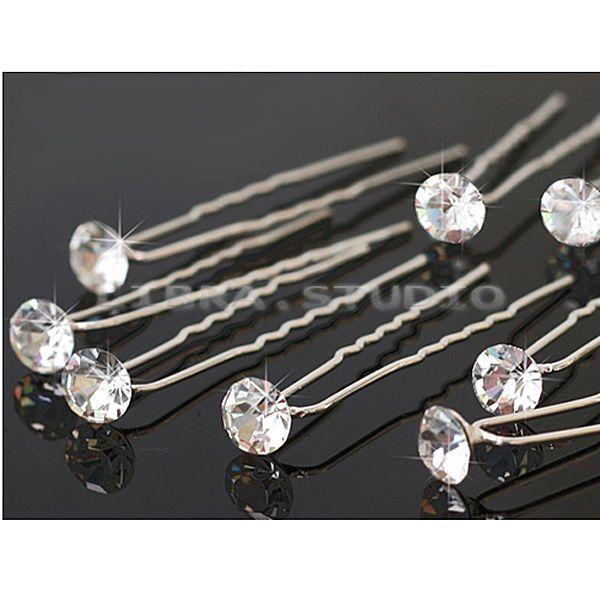 20PCS Clear Crystal Rhinestone Diamante Wedding Bridal Prom Hair Pins Hairpin