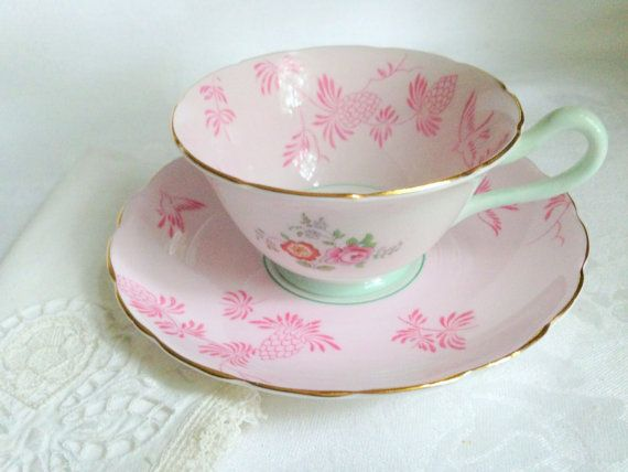 Antique Grosvenor Pink Teacup and Saucer,  Pink Cups, English Teacups, Pink Tea Cups, Tea Sets, Pink Tea Cup, Gift for Her, VogueTeam