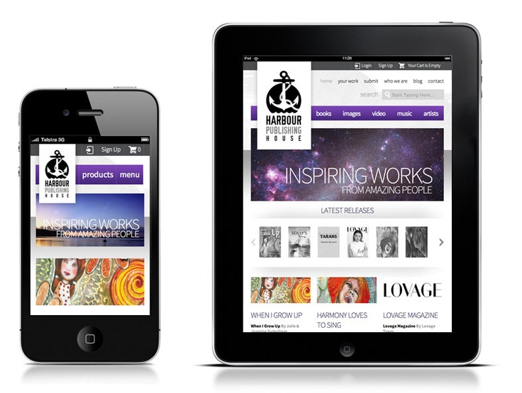 Harbour Publishing House Mobile Web Site Designed by Ulladulla Web Design