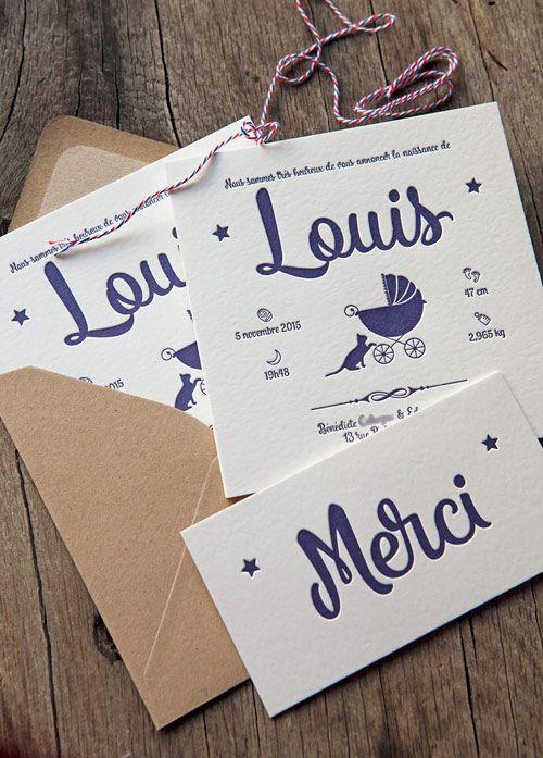 Impression letterpress faire-part de naissance Louis création originale du papa…