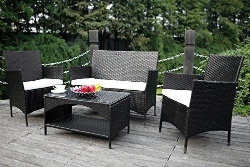 Garden-Furniture-Set-4-Piece-Patio-Rattan-Cushioned-Sofa-Set-LoveSeat-Chair-NEW