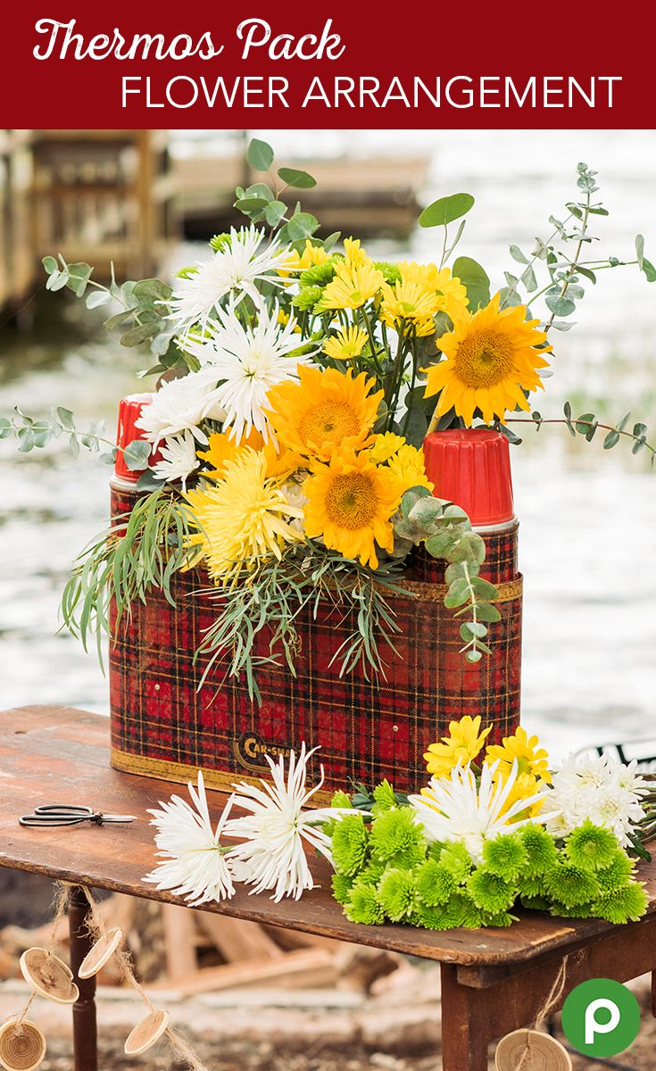 Make this birthday centerpiece one to remember with a picnic thermos flower arrangement. A bit of vintage flair and your favorite flowers can brighten up their outdoor birthday party into one they'll never forget. Try mixing and matching bouquets with all kinds of flowers from the Publix Floral department.