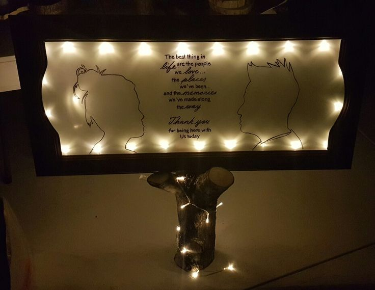 Personalised signage with quote and LED string lights