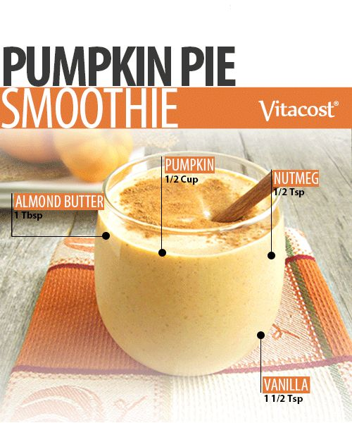YUM! Pumpkin Pie Smoothie... Pumpkin Pie Smoothie  Ingredients  ½ (15 oz.) or ½ cup mashed pumpkin* ½ cup unsweetened almond milk 1 Tbsp. almond butter ¼ cup mashed carrots or sweet potato* 1-½ tsp. vanilla 1 tsp. cinnamon (or more, to taste) ½ tsp. nutmeg ½ cup crushed ice cubes Optional: 1 scoop vegan vanilla protein powder