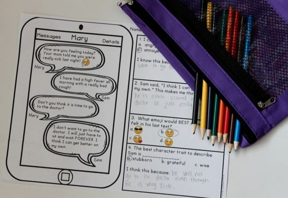 Character Trait Activities and Assessments - I love this text message themed reading activity! This requires students to use text based evidence too!