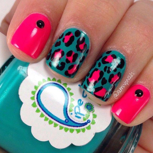 Super bright leopard manicure #nailart #manicure #nails #naildesign #manicureideas #leopardnails #pinknails #brightnails #nailstuds
