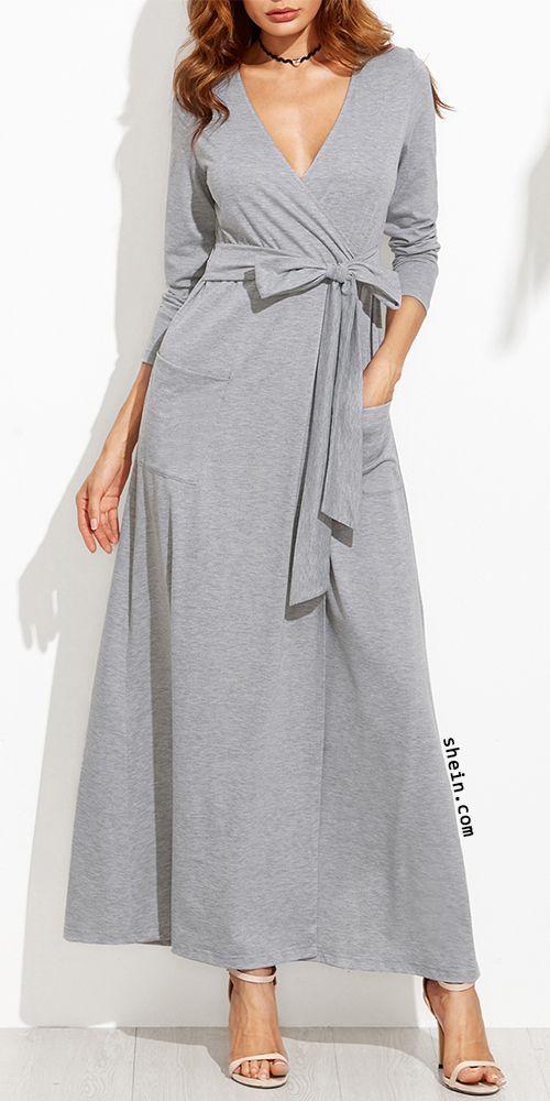 Deep V neck wrapped dress with belt & pockets. Quite cozy!