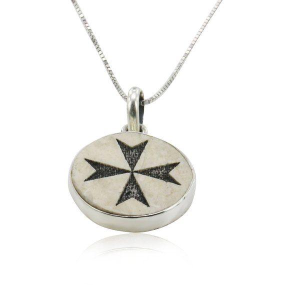 Maltese Cross Malta Cross On Jerusalem Stone Silver Necklace