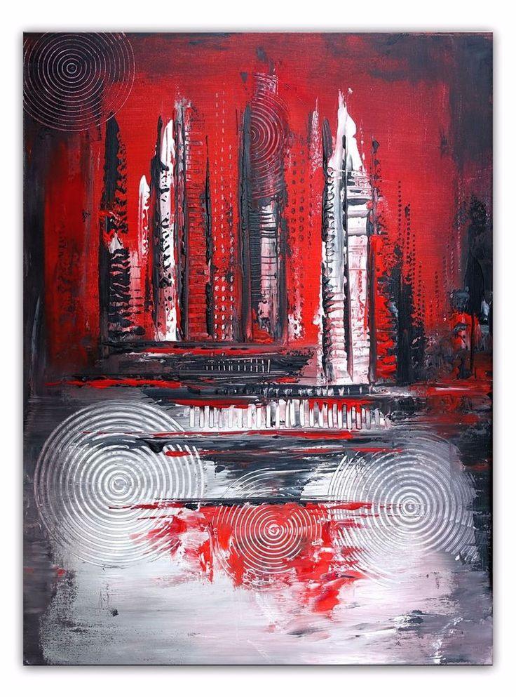 BURGSTALLER Original Gemälde Eruption 3 rot grau Weiß Leinwandbild abstrakt