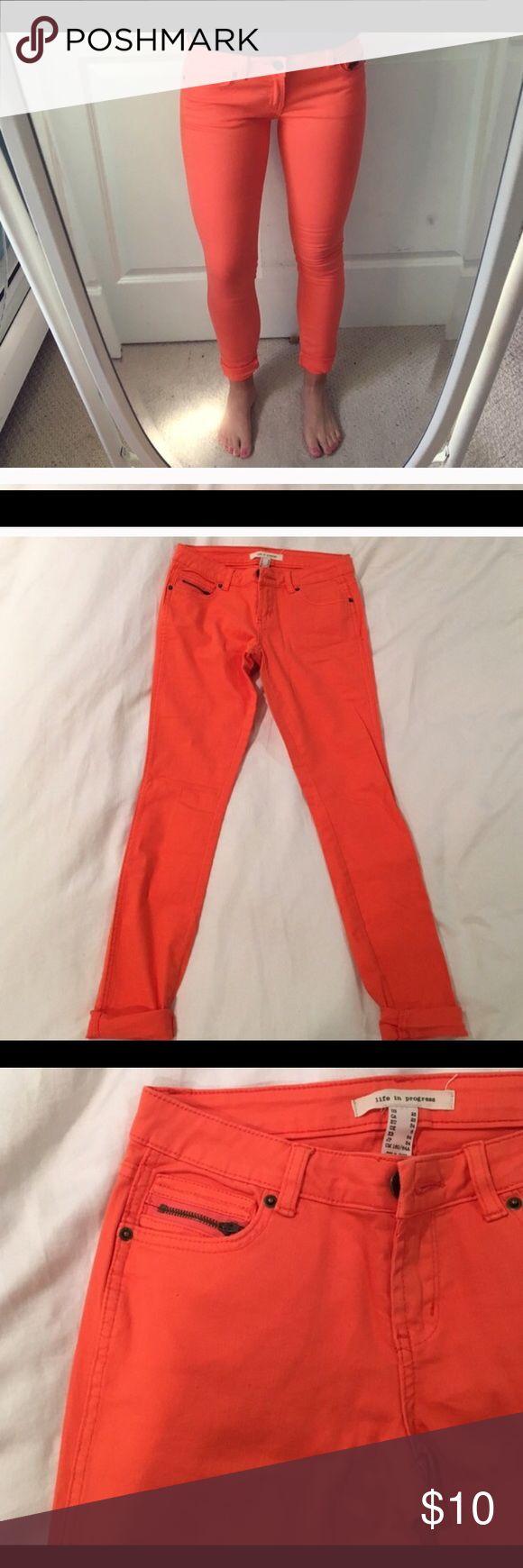 Life in progress orange skinny jeans Super cute  soft light denim orange skinnies! Forever 21 Jeans Skinny