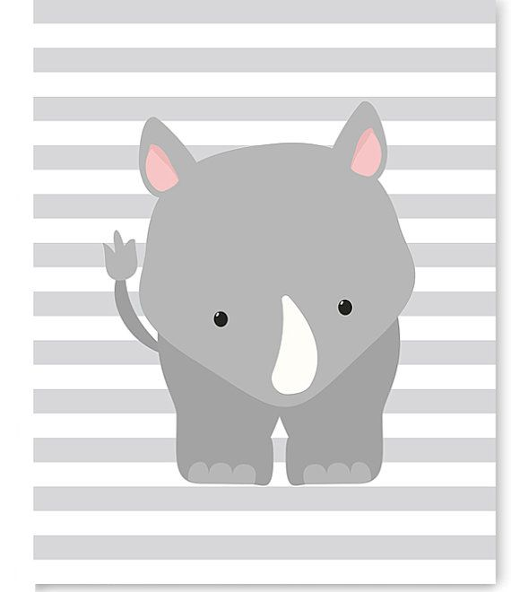 Rhino Nursery Art, Zoo Nursery Decor, Nursery Wall Art, Zoo Wall Art, Rhino Canvas, Baby Room Decor, Gender Neutral, Zoo Canvas Art, Shower