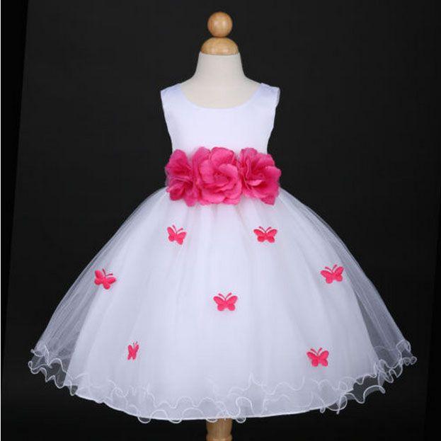 """Φορέματα για Παρανυφάκια - Επίσημα Φορέματα για Κορίτσια :: Αμάνικο Παιδικό ΛΕΥΚΟ Σατέν - Τούλι Φόρεμα με Πεταλούδες με Συνοδευτικό Kορμί, Ζώνη, Λουλούδι, Φιόγκο, """"Butterfly"""" - http://www.memoirs.gr/"""