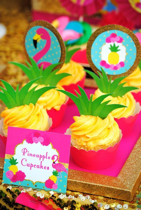 FLAMINGO Party - FOOD LABELS - Flamingo Printables - Pineapple Party - Luau Party