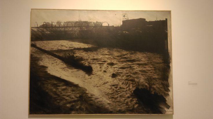"""Enrique Zamudio (CL) """"Serie pictográfica Santiago"""" Rio Mapocho 1989 Fotografía Estenopeica, fotoemulsión y óleo sobre tela"""