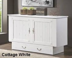 The Cottage White Cabinet Bed from Sleepworks New York is a great alternative for those who do not have the room or budget for a traditional Murphy Wall Bed or just want a comfortable mobile fold out bed that looks and feels like an up scale cabinet for any room in the home and opens in less than 30 seconds.