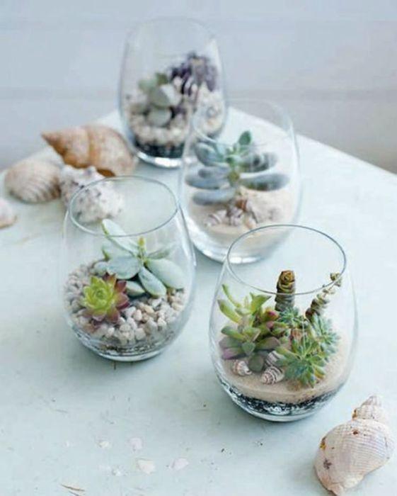 Wine glasses as tiny pots of miniature succulents.