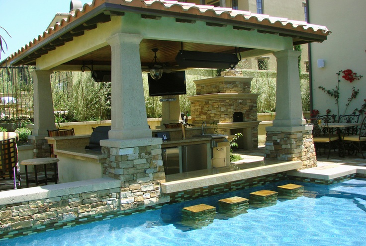swim-up bar & covered outdoor kitchen