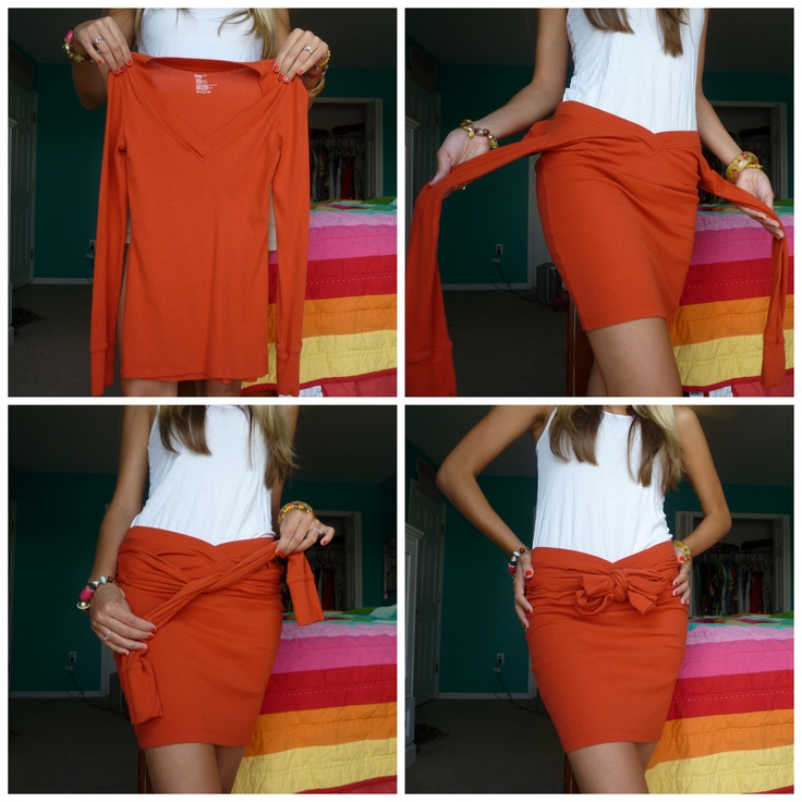 Como transformar uma velha manga longa em uma linda saia– Eu tenho uma bela camisa roxa …   – T-shirts