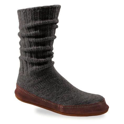 Acorn SLIPPER SOCKS for Men and Women-Charcoal Ragg Wool