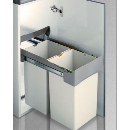 Cubo basura rectangular 14L + 14 L - Apertura manual