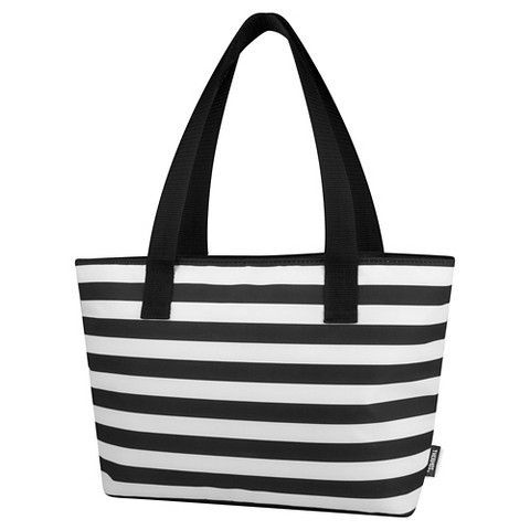 Thermos Lunch Bag with black and white stripe pattern - Black