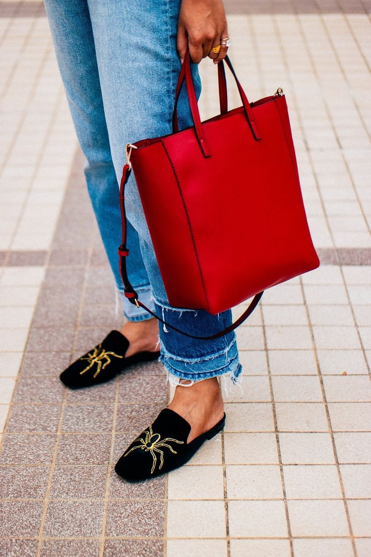 Spider Printed Mules & Red Leather Tote