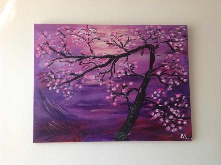 Schilderij japanse boom acrylique verf