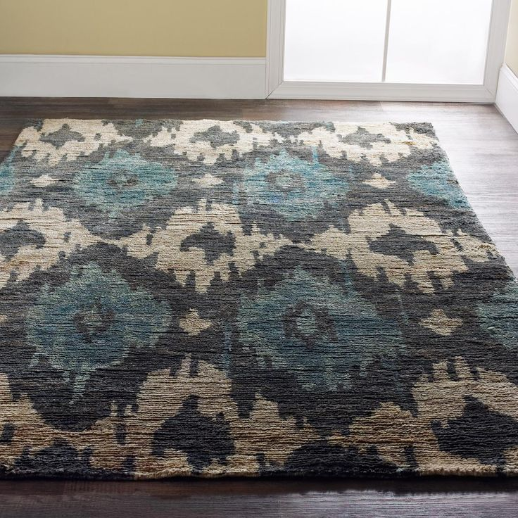 Charcoal And Teal Ikat Brushed Jute Rug