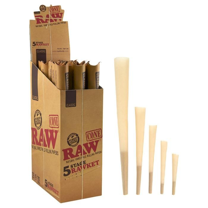 Raw Classic 5 Stage Rawket Pre Rolled Cone Rolling Paper Cone Rolls