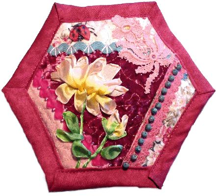 How to make a quilt as you go crazy patchwork hexagon~ silk ribbon embroidery tea rose flower