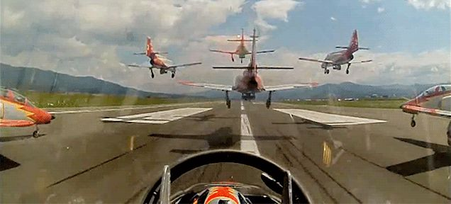They may not have the cool F-16s of the US Air Force's Thunderbirds or the ultra-cool Northrop F-5E Tiger II of the Patroullie Suisse, but the Spanish Air Force's Patrulla Águila (Eagle Patrol) can do some cool tricks too. Here they are landing in formation.