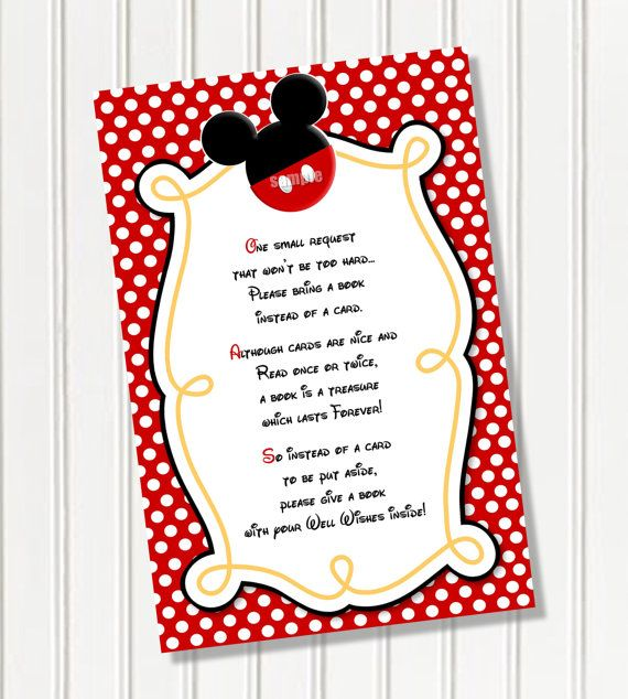 Please Bring A Book Instead Of Card Mickey Mouse Invitation Insert