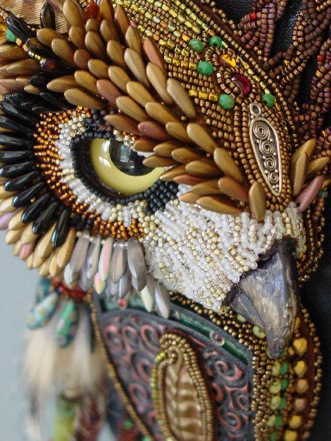Owl beadwork by Heidi Kummli