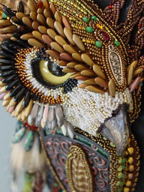 Heidi Kummli bead embroidery.  I can't imagine how hard this would be to do or how long it would take to do it!  It really looks like an owl!