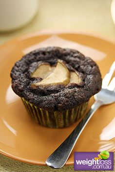 Healthy Snack Recipes: Gluten Free Chocolate & Pear Muffins Recipe. #HealthyRecipes #DietRecipes #WeightLoss #WeightlossRecipes weightloss.com.au