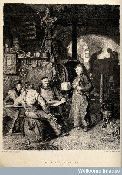 Workmen having beer in the cellar of a monastery. Etching by