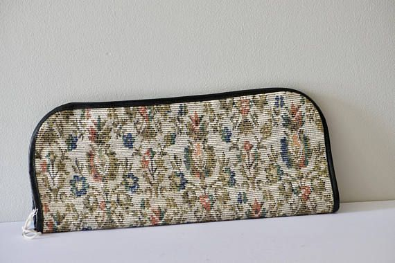 Vintage Tapestry Style Knitting Needle Case or Travel Cosmetic Case or Artist Brush Holder Black Interior MultiPocket Birthday Gift by VintageFlicker